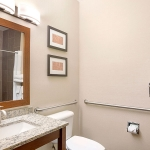 Vanity area in bathroom